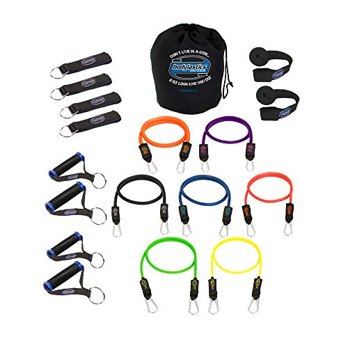 Bodylastics Resistance Bands Set with Patented Anti-Snap Elastics, Patented Clips, Upgraded Handles, Heavy Duty Door Anchor, Legs, Wrist Ankle Straps and Storage Bag (One Bag, 202 lbs. - 7 Bands)