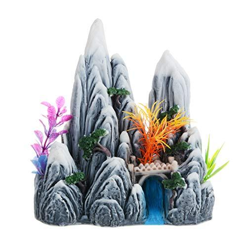 Saim Aquarium Mountain View Stone Ornament, Rock Cave Landscape Artificial Fish Tank Decoration with Plants