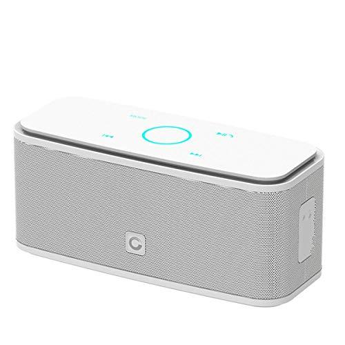 Altavoz Bluetooth Caja de Sonido Control táctil Altavoz Bluetooth Altavozinalámbrico portátil Caja estéreo con bajo y micrófono IncorporadoBlanco