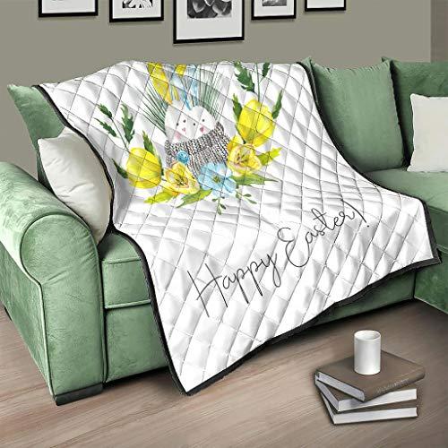 AXGM Colcha de pascua con diseño de conejo de Pascua, 173 x 203 cm, color blanco
