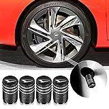 バルブキャップ エアバルブ タイヤ バルブ 車 エアー ホイールキャップ 車用メタル 腐食 防止 4個組 (ブラック)
