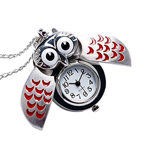 aloiness Metal Owl Llavero Reloj Llavero Bolsa Bolsillo de Coche Ornamentos Colgantes para Mujeres Hombres Recuerdo Regalo de Cumpleaños (Rojo)