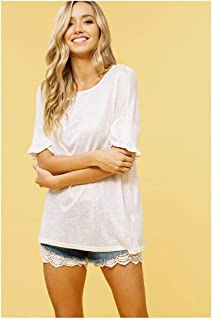 Listicle Knitted Ruffle Sleeve T-Shirt