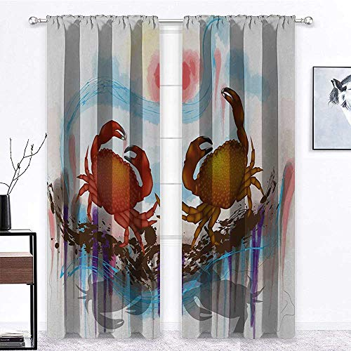 YouXianHome Crabs Curtain Sea Animals Theme Two Crabs Dancing on The Abstract Grunge Background Print Lush Decor Brown Pale Blue | 2 Panels 36' W x 72' L