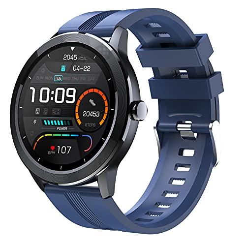 FMSBSC Reloj Inteligente Hombre Smartwatch - Medidor de Temperatura Corporal, contrôle de la Musique, Pulsómetros, Monitor de SpO2, Ritmo Cardíaco, Pulsera Actividad Inteligente para Android iOS,Azul