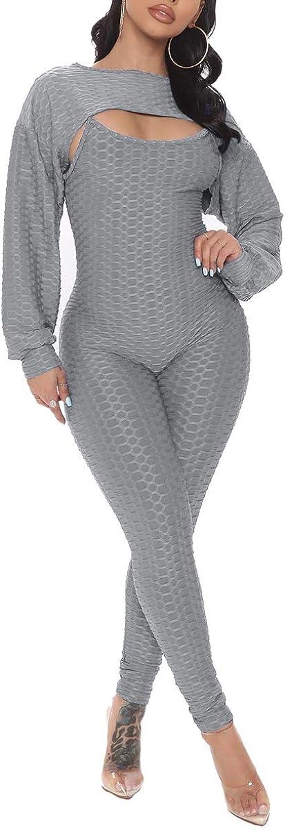Memoryee Womens Yoga Virginia Beach Mall 2 Japan Maker New Piece Bodysuit Set Crop Bodycon Jumpsuit