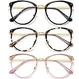 HILBALM (3 Pack) Blue Light Blocking Glasses Women and Man Computer Eyeglasses Metal Frame Glasses (Black, Leopard, Pink)