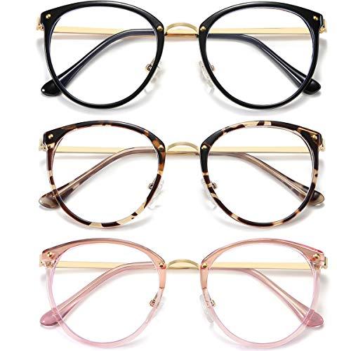 HILBALM (3er Pack) Blaulicht blockierende Brille Frauen und Mann Computer Brille Metallrahmen Brille (schwarz, Leopard, rosa)