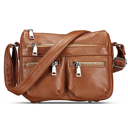 Lecxci Womens Large Soft Leather Multi-purpose Crossbody Handbag Shoulder Travel Bags Purses for Women (Brown)