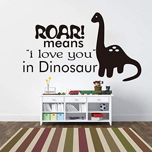 GUDOJK Väggklistermärke bebisrum dekor ryr betyder att jag älskar dig i dinosaurie citat väggdekal avtagbar vinyl dinosaurie väggklistermärke barnrum väggmålning