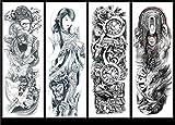 Tatuaje temporal masculino adulto, 4 tatuaje temporal impermeable tatuaje falso brazo brazo hombro maquillaje cuerpo arte pegatina dragón tribal tótem tatuaje Halloween realista