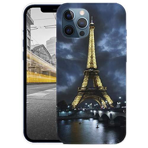 KX-Mobile Hülle für iPhone 12/12 Pro Handyhülle Motiv 394 Eifelturm Paris Frankreich bei Nacht Blau Gelb Premium Silikonhülle SchutzHülle Softcase HandyCover Handyhülle für iPhone 12/12 Pro Hülle