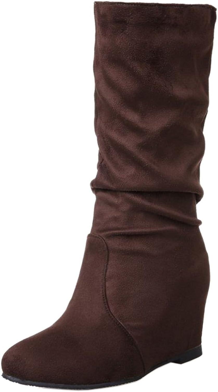 TAOFFEN Women Comfort Wedges High Heels Mid Calf Boots
