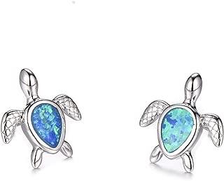 Vanessa Blue Opal Sea Turtle Earrings Birthstone Jewelry Birthday Stud Earrings Gifts for Her