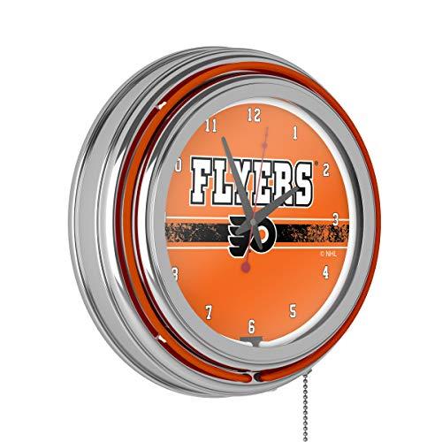 Trademark Global NHL Chrome Double Rung Neon Clock - Philadelphia Flyers