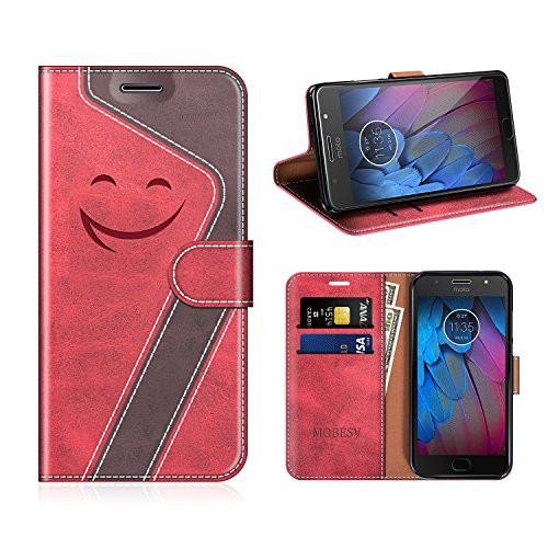MOBESV Smiley Motorola Moto G5S Hülle Leder, Motorola Moto G5S Tasche Lederhülle/Wallet Hülle/Ledertasche Handyhülle/Schutzhülle für Motorola Moto G5S, Rot/Dunkel Violett