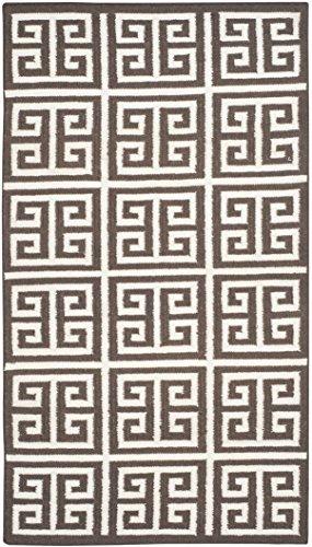 Safavieh Dhurries Collection DHU626C Teppich, handgefertigt, Flachgewebe, Premium-Wolle und Bananenseide, 91 x 152 cm, Braun / Elfenbeinfarben