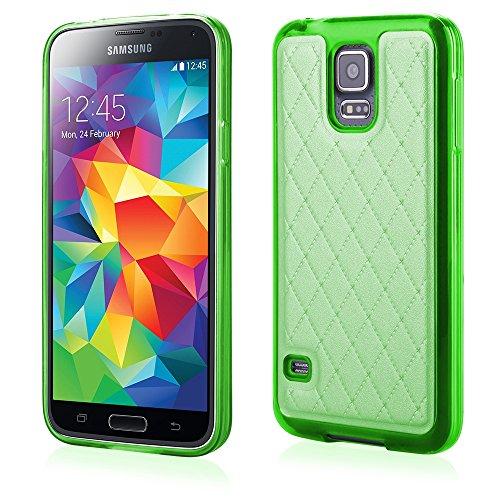 Elegante carcasa de silicona y TPU funda protectora de piel sintética con verde para 'Samsung galaxia S5 Neo' Funda con tapa
