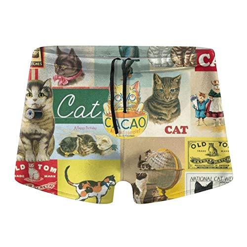 Traje de baño para hombre, diseño vintage con gato divertido