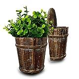 OULVLIFE Macetero de madera para colgar macetas de flores plantas suculentas jarrón de flores decoración para la casa jardín Patio para interiores exteriores (13 x 8 x 20 cm)