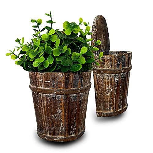 OULVLIFE Vaso da fiori in legno da appendere Vaso da fiori Piante grasse Vaso da fiori Decorazioni per la casa Giardino Patio per interni Esterni (13 * 8 * 20 cm)