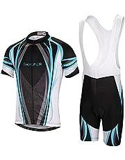Skysper Fietsshirt met korte mouwen + fietsbroek MTB A drager ademend met 3D gel gewatteerd fietsen jersey sportkleding voor heren