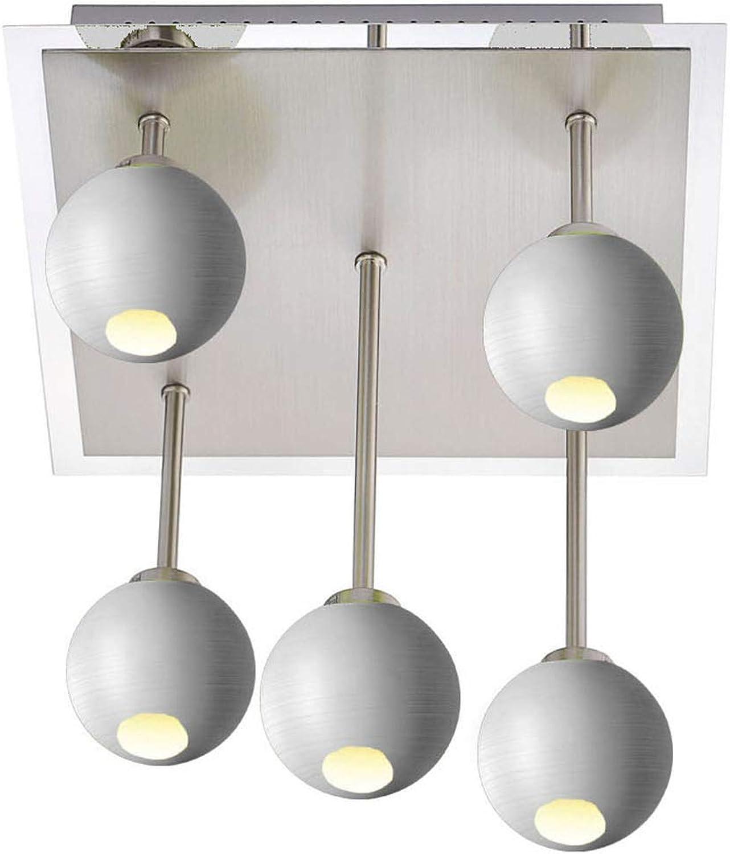 5-flammige LED Deckenleuchte 30x30 cm, offene Glaskugeln wei  8cm, dimmbar, Fischer M6