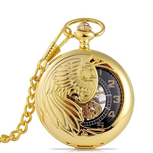 SKYEI Reloj de bolsillo clásico para hombre – Reloj de bolsillo clásico con solapa – Diseño dorado Phoenix medio corte – Unisex – El mejor regalo + caja de regalo (color A: A)