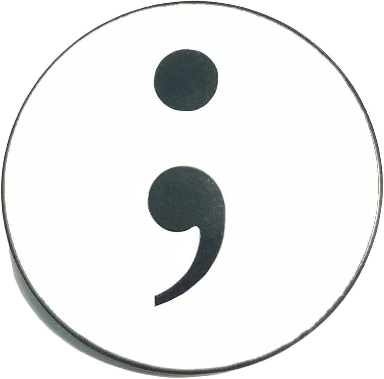 Applicable Pun Semicolon Symbol of Hope Enamel Pin - Lapel or Fabric Pin (Black)