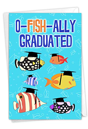 NobleWorks - 1 Funny Graduation Greeting Card - Congratulations to Graduate, School or College Notecard with Envelope - No More School C3132GDG