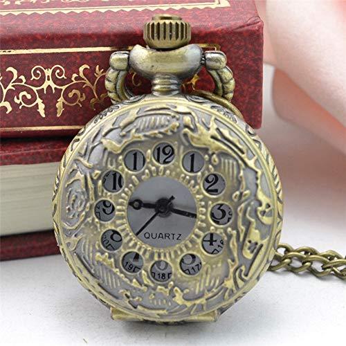 URNOFHW Moda de Bronce de Cobre del Metal del Tono de Steampunk de la Vendimia del Bronce Retro Diseño Reloj de Bolsillo del Cuarzo de Regalo Collar