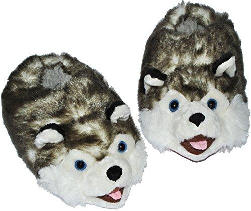 alles-meine.de GmbH Hausschuh / Pantoffel -  Hund Husky  - Größe Gr. 37 38 39 40 41 42 - Plüschhausschuh / Tier - Tiere - für Kinder & Erwachsene - Plüsch / Winterhausschuhe - ..