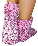 dunaro 2 Paar ABS Anti Rutsch Socken Wollsocken Stoppersocken Noppensocken Damen und Herren (1 Paar / 39-42 pink)