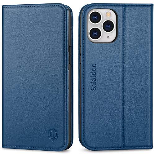 SHIELDON iPhone 12 Pro Max-fodral, stötsäker iPhone 12 Pro Max plånbok äkta läderfodral [RFID-blockering] [TPU-skal] [cykelställ] [Kortplatser] Flip fodral kompatibelt med iPhone 12 Pro Max, 6,7 tum, kungsblå