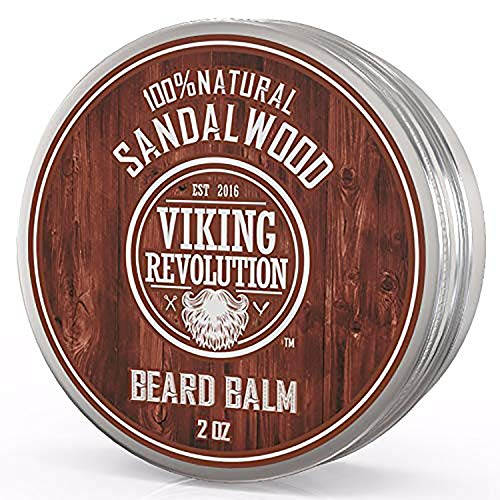 Beard Balm with Sandalwood Scent and Argan & Jojoba Oils- Styles, Strengthens & Softens Beards & Mustaches - Leave in Conditioner Wax for Men by Viking Revolution (1 Pack)