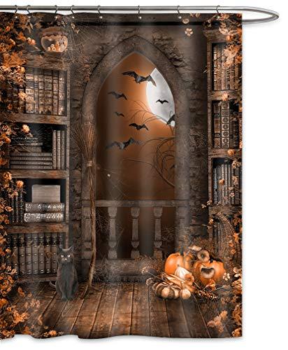 FOOG Halloween Duschvorhang Bücherregal Pumpkim Duschvorhang Tiervorhang mit Haken 70
