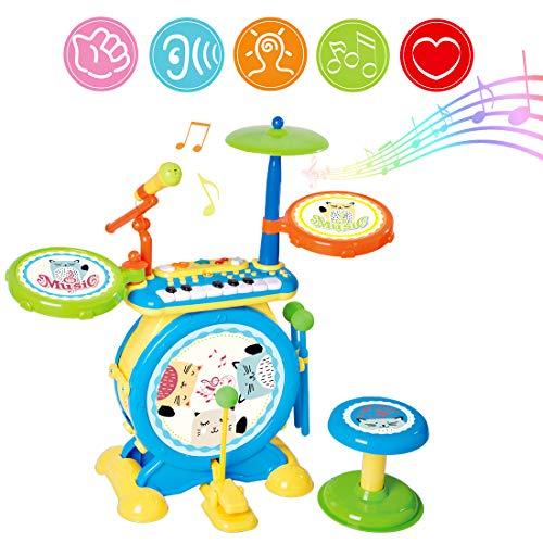 deAO Elektronische Rock and Roll Muzikale Instrumenten Trommel Speelgoed voor kinderen met Toetsenbordmicrofoon en Stool Seat Kinderactiviteiten Jongens en Meisjes