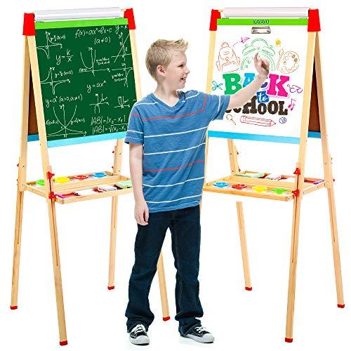 Caballete de madera para niños con pizarra magnética de doble cara y pizarra. Caballete para niños de 85-160 cm de altura ajustable con un rollo de papel de caballete de 45 cm x 10 m.