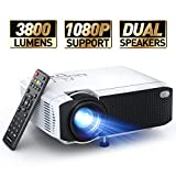 """Mini Projector, APEMAN 3800L Brightness Projector, Support 1080P 180"""" Display, Portable Movie Projector, 45,000Hrs LED Life and Compatible with TV Stick, PS4, HDMI, TF, AV, USB for Home Entertainment - Best Reviews Guide"""