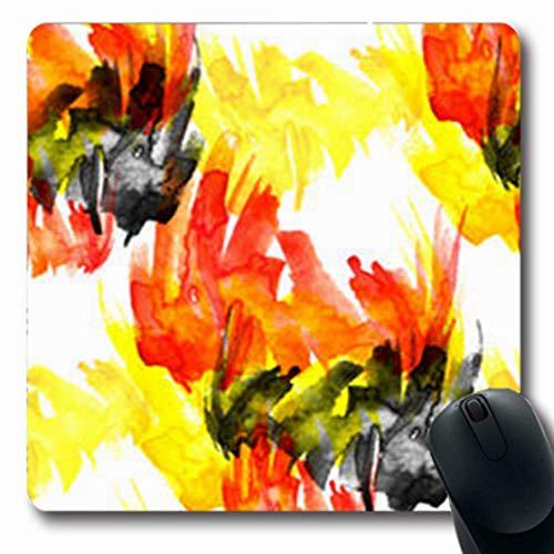 Mousepads Grunge Aquarel Blot Blob Splash Abstract Borstel Scenic Strokes Wit Roze Zwart Artistiek Water Oblong Vorm 7,9 x 9,5 inch Oblong Gaming Mouse Pad Antislip Mouse Mat