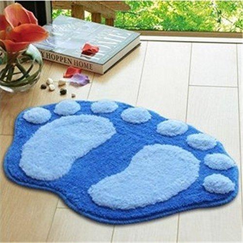 Airblasters Microfiber Lovely Flocking Big Feet Pad Floor Mat Bedroom Area Rug Carpet 58.538.5cm(Blue)