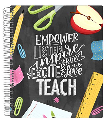 bloom daily planners Undated Academic Year Teacher Planner & Calendar - Lesson Plan Organizer Book with Frosted Protective Cover (9' x 11') - Chalkboard