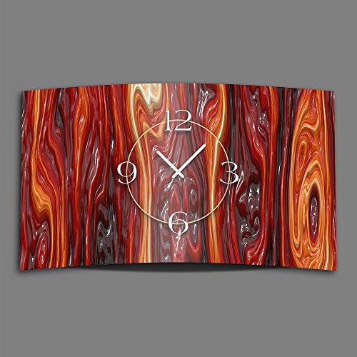 Dixtime 3DS-0183 Horloge murale design moderne en verre fondu, silencieuse, sans tic-tac Rouge