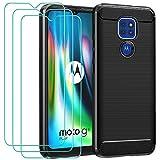 ivoler Funda para Motorola Moto G9 Play/Moto E7 Plus/Moto G9 + 3 Unidades Cristal Templado, Fibra de Carbono Negro TPU Suave de Silicona Carcasa Caso + Vidrio Templado y Protector de Pantalla