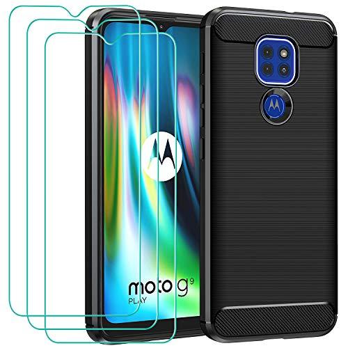 ivoler Hülle für Motorola Moto E7 Plus/Moto G9 Play/Moto G9 mit 3 Panzerglas Schutzfolie, Schwarz Stylisch Karbon Design Anti-Kratzer Handyhülle Stoßfest Schutzhülle Cover Weiche TPU Silikon Hülle