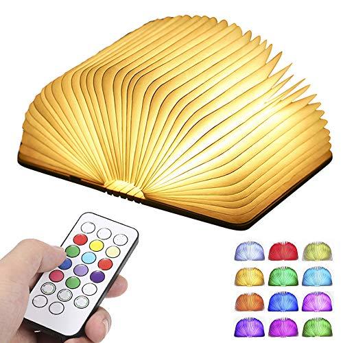 Lampada Libro RGB,Tomshine Lampada Led a Forma di Libro,12 colori che modificano l'umore e dimmerabile con timer USB ricaricabile. [Classe di efficienza energetica A+]