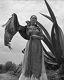 ClassicPix Photo Print 12x15: Frida Kahlo (Senora Diego Rivera) Standing Next to an Agave Plant.