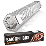 Topico Premium Pellet Smoker Tube 12 inches - 5 Hours of Billowing Smoke - for Any Grill or Smoker, Hot or Cold Smoking - Easy, Safety ,Hexagonal,Accessories -2 S Shape Hooks,1 Cleaning Brush.