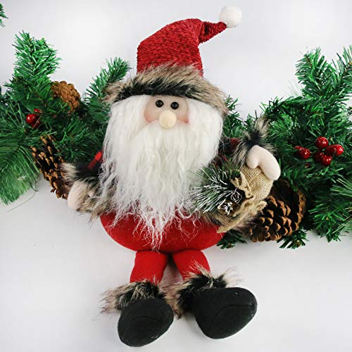 Houwsbaby Christmas Decoration Handmade Plush Santa Claus Figurines Hold a Gift Bag Home Desktop Collectible Stuffed Dolls Holiday Party Supplies Sitting Traditional Table Ornament, Red, 21'' (Santa)