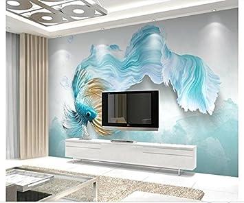 Yosot Custom 8D Fototapete Wandbild Non-Woven Wohnzimmer Fernseher Sofa  Hintergrund Tapete Abstrakt Blau Guppy 8D Tapeten Home Decor-8Cmx8Cm